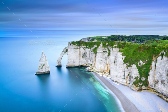 Etretat Aval cliff and rocks landmark and ocean . Normandy, Fran - Stock Photo - Images