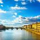 Santa Trinita Bridge on Arno river, sunset landscape. Florence, - PhotoDune Item for Sale