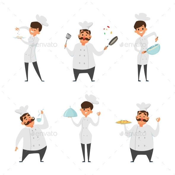 Illustrations of Male and Female Professional Chef - People Characters