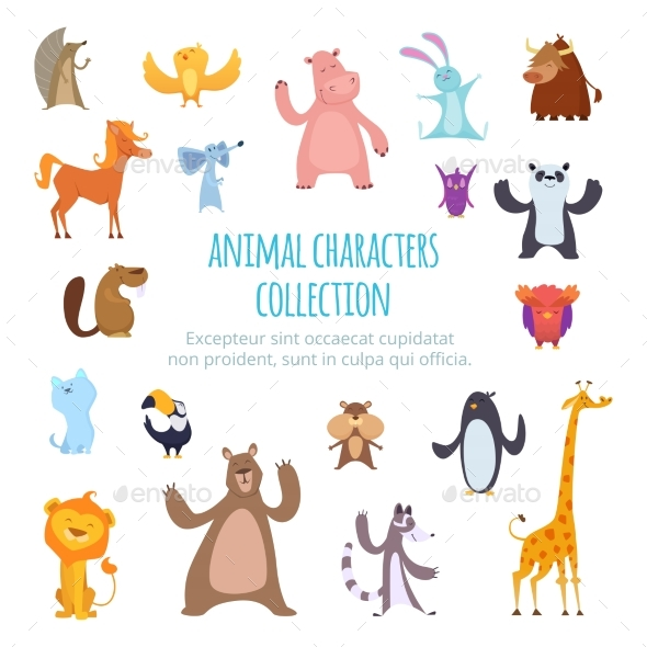 Vector Background Pictures with Different Cartoon - Animals Characters