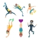 Set of Cartoon Characters. Underwater Divers - GraphicRiver Item for Sale