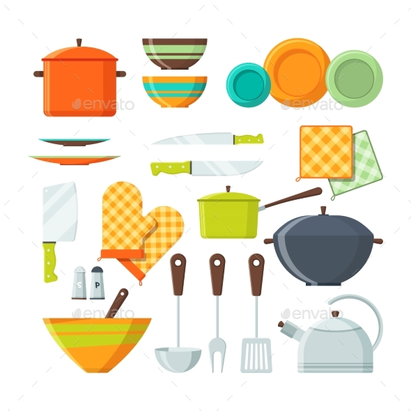 Bowl, Fork and Other Kitchen Tools in Cartoon - Objects Vectors