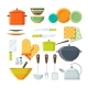 Bowl, Fork and Other Kitchen Tools in Cartoon - GraphicRiver Item for Sale