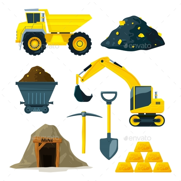 Illustrations of Mining Industry - Objects Vectors