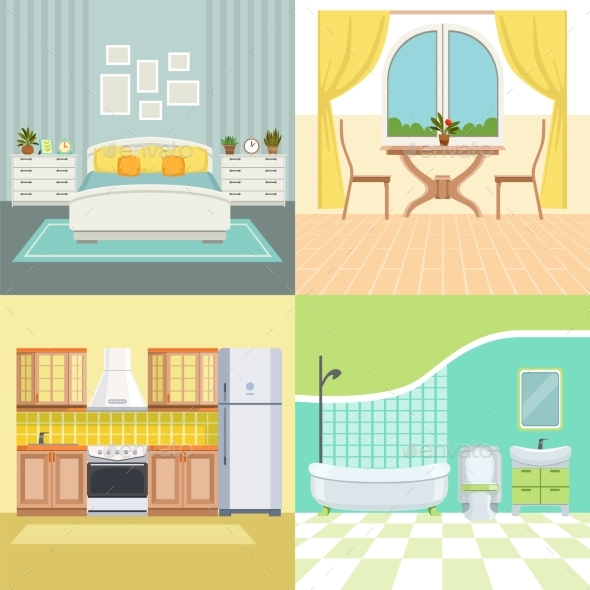 Set Illustrations Modern Interior of Living House - Objects Vectors