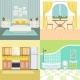 Set Illustrations Modern Interior of Living House - GraphicRiver Item for Sale