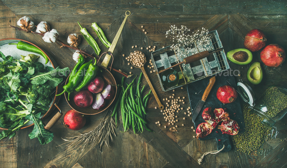 Winter vegetarian or vegan food cooking ingredients, top view - Stock Photo - Images