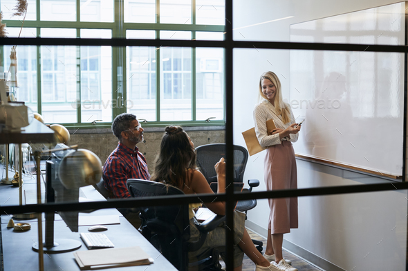 Woman at whiteboard in team meeting, seen through glass wall - Stock Photo - Images