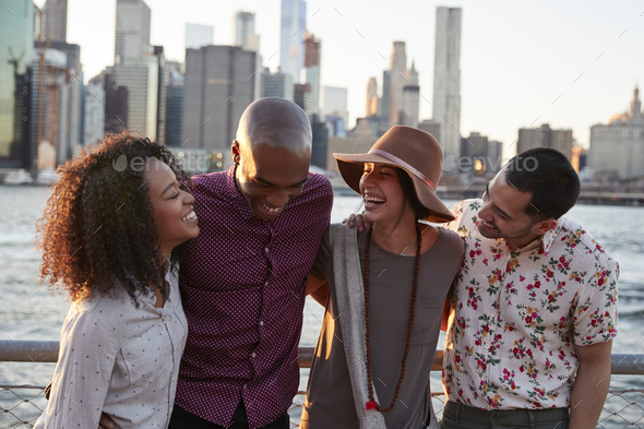 Group Of Young Friends On Trip To Manhattan - Stock Photo - Images