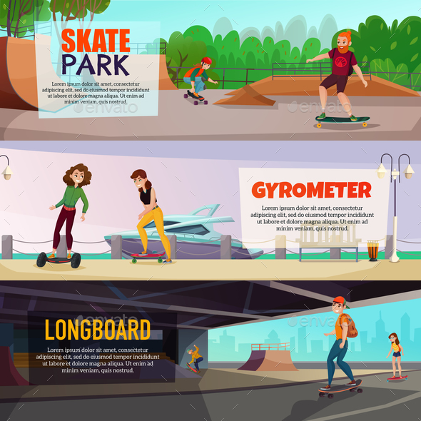 Skateboarding Horizontal Banners - Sports/Activity Conceptual