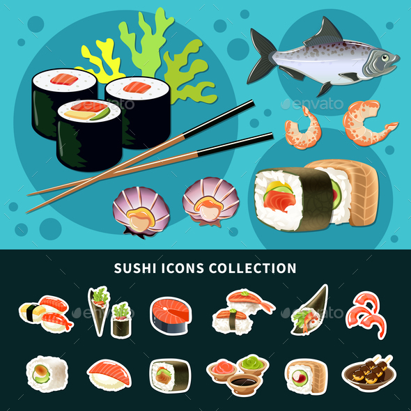 Sushi Flat Composition - Food Objects