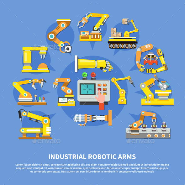 Industrial Robotic Arms Composition - Industries Business