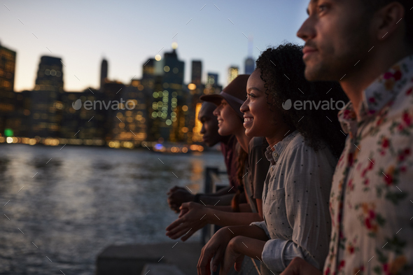 Group Of Young Friends On Trip To Manhattan At Dusk - Stock Photo - Images