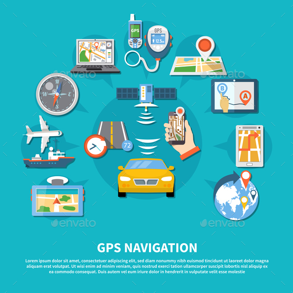 GPS Navigation System Background - Travel Conceptual