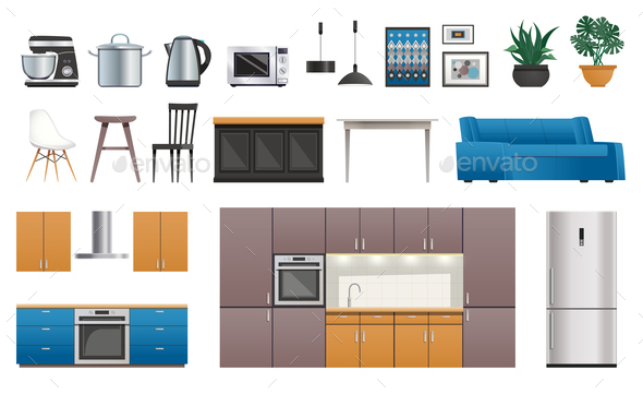 Kitchen Interior Elements Icons Set - Miscellaneous Vectors