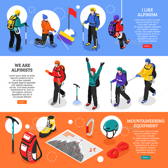 Mountaineering Horizontal Banners - Sports/Activity Conceptual