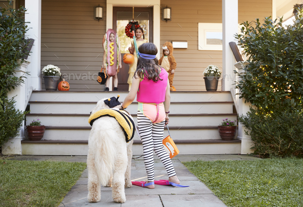 Children And Dog In Halloween Costumes For Trick Or Treating - Stock Photo - Images