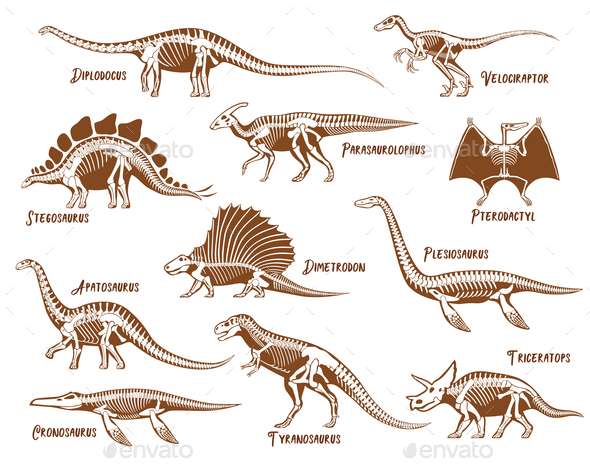 Dinosaurs Decorative Icons Set - Miscellaneous Vectors
