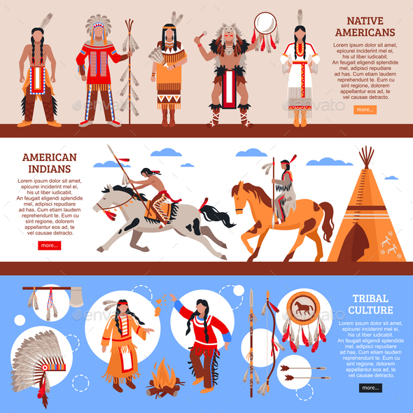 Native Americans Horizontal Banners - People Characters