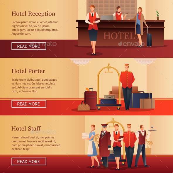 Hotel Personnel Flat Banners - Travel Conceptual