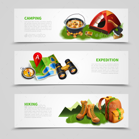 Camping Realistic Banner Set - Travel Conceptual