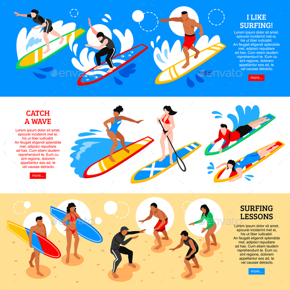 Surfing Isometric Horizontal Banners - Sports/Activity Conceptual