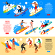 Surfing Isometric Horizontal Banners