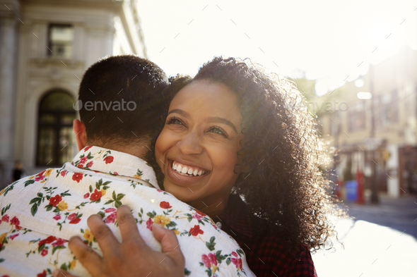 Young Couple Meeting On Urban Street In New York City - Stock Photo - Images