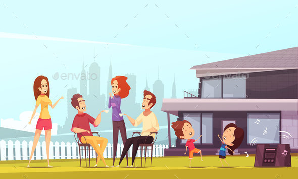 Neighbors Party Cartoon Illustration - People Characters