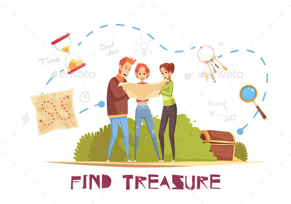 Find Treasure Vector Illustration - Miscellaneous Conceptual