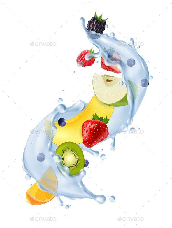 Fruit Water Splash Realistic - Food Objects