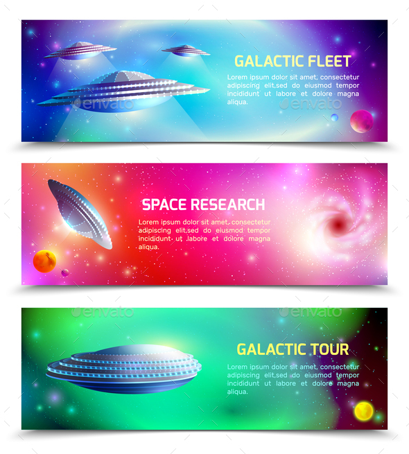 Alien Spaceship Horizontal Banners - Miscellaneous Vectors