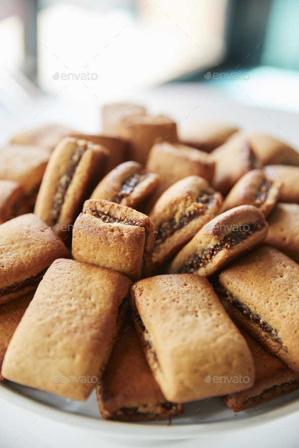 Display Of Freshly Baked Fig Cookies In Coffee Shop - Stock Photo - Images