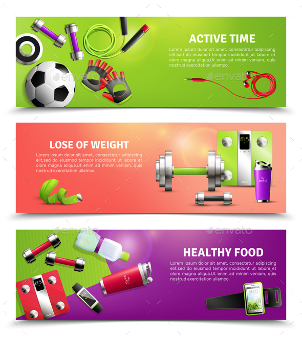 Fitness Gym Banners Set - Food Objects