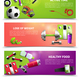 Fitness Gym Banners Set