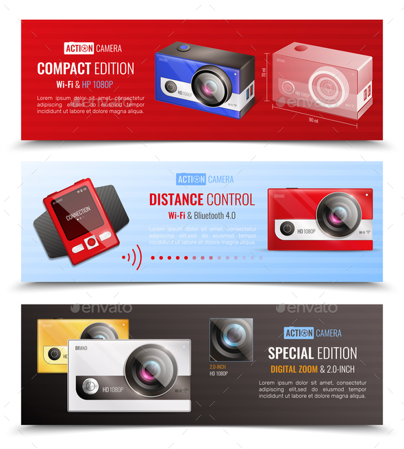 Action Camera Banners Set - Media Technology