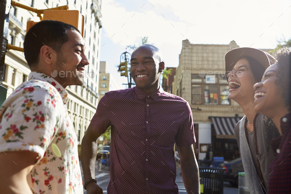 Group Of Friends Meeting On Urban Street In New York City - Stock Photo - Images