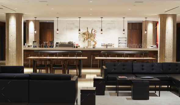 Empty bar lounge area in a modern business premises - Stock Photo - Images