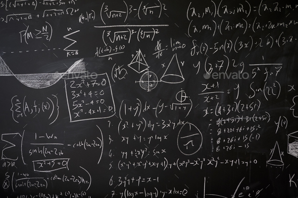 Blackboard with maths statistics, equations and ideas - Stock Photo - Images