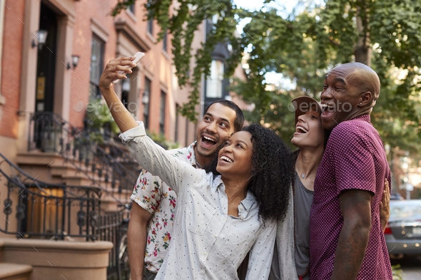 Group Of Friends Posing For Selfie On Street In New York City - Stock Photo - Images