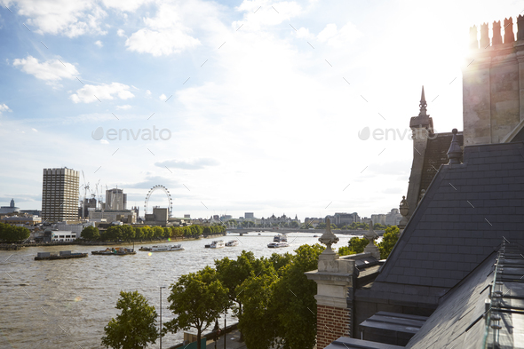 View of London from a roof terrace - Stock Photo - Images