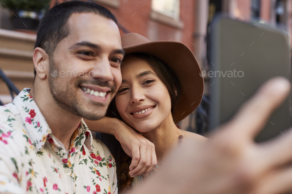 Couple Posing For Selfie On Street In New York City - Stock Photo - Images