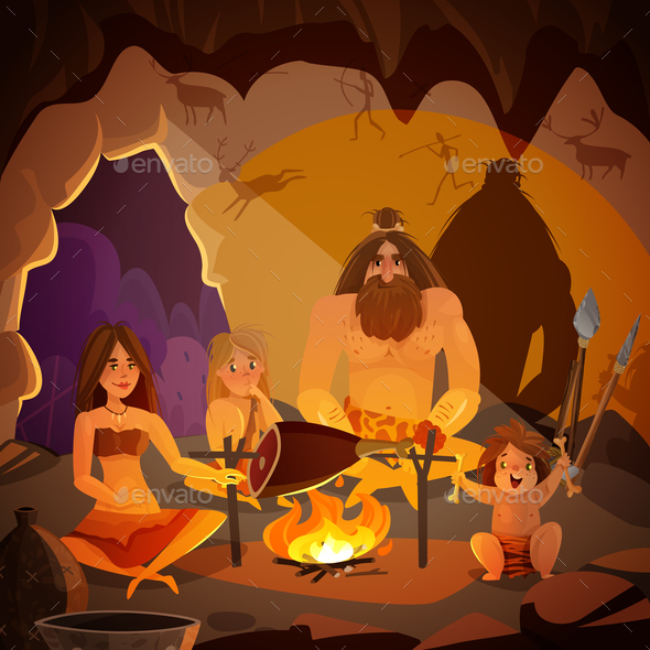 Caveman Family Cartoon Illustration - People Characters