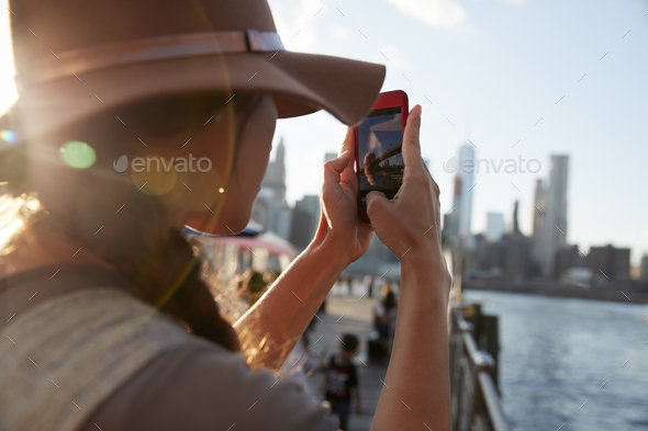 Tourist Taking Photo Of Manhattan Skyline On Mobile Phone - Stock Photo - Images