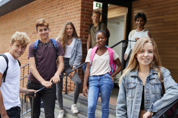 Portrait Of Teenage Students Outside School Building - Stock Photo - Images