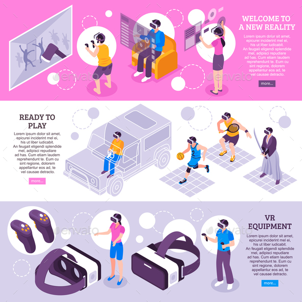 Virtual Reality Isometric Banners - Sports/Activity Conceptual