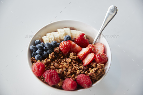 Bowl Of Granola And Fresh Fruit For Healthy Breakfast - Stock Photo - Images