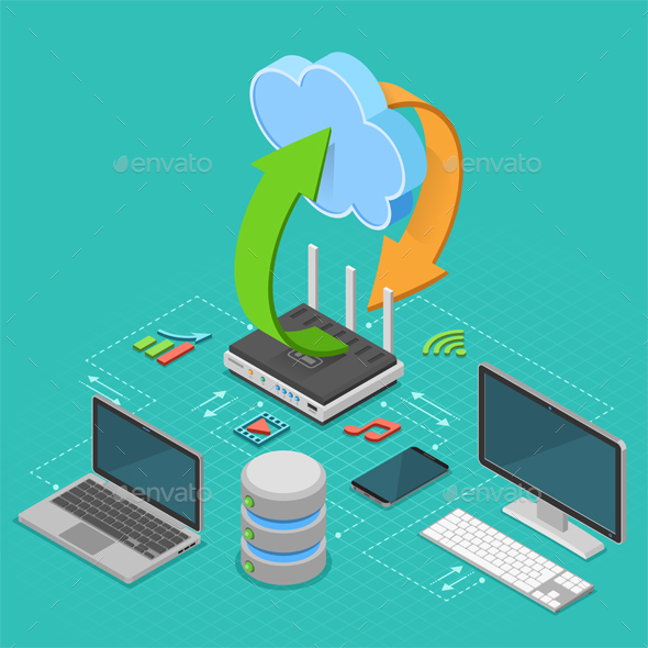 Cloud Computing Technology Isometric - Web Technology