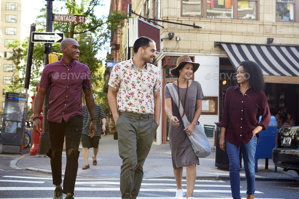 Group Of Friends Crossing Urban Street In New York City - Stock Photo - Images
