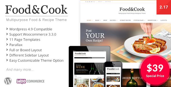 Food & Cook - Multipurpose Food Recipe WP Theme - Retail WordPress